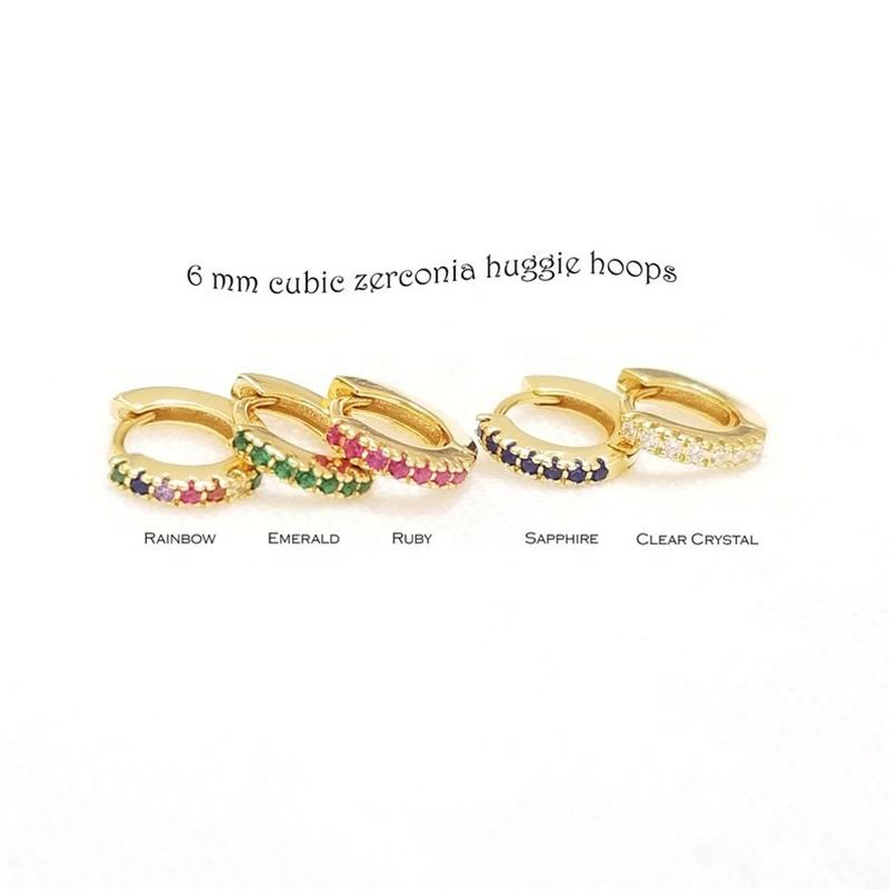 Factory Wholesales 925 Silver silver Jewelry 6MM Rainbow CZ Stone Hoop Huggie Earrings For Women