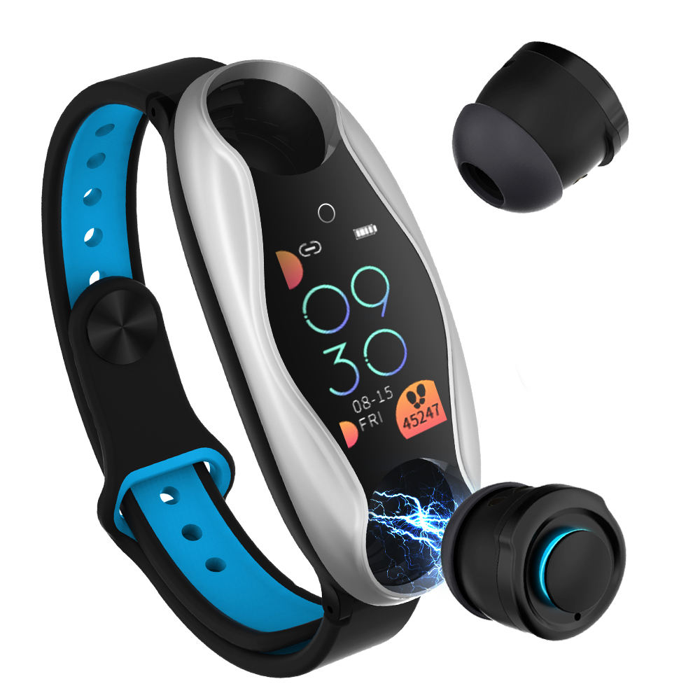 JUCHENG Popular LT04 smart watch with Fitness 2 In 1 Bracelet Bluetooth Earphone for Touch Module Blood pressure