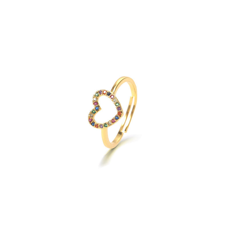 Hear finger ring jewellery classic charming 18k gold ring for ladies