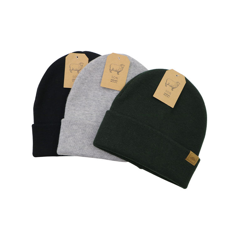 Unisex Merino Wool Cable Knit Warm and Soft Stretchable Hot Selling Winter Knit Beanie Hats Caps Toque For Cold Weather