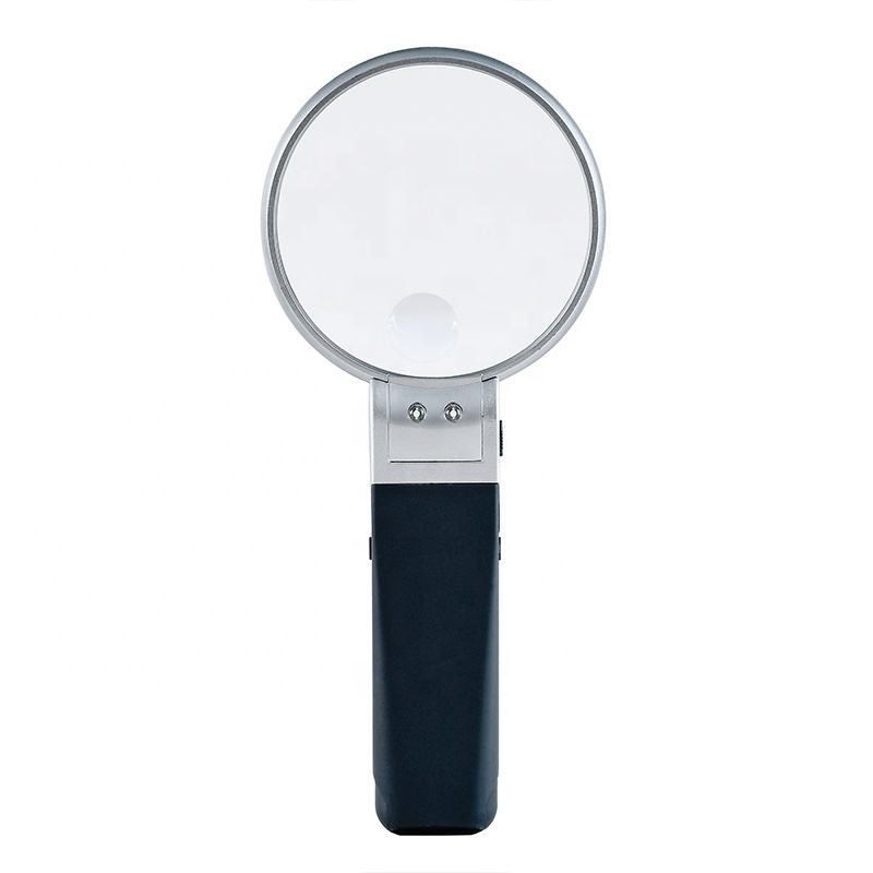 hot selling high quality 90mm acrylic lens handheld magnifying glass with led light 2x/5x magnification handheld magnifier