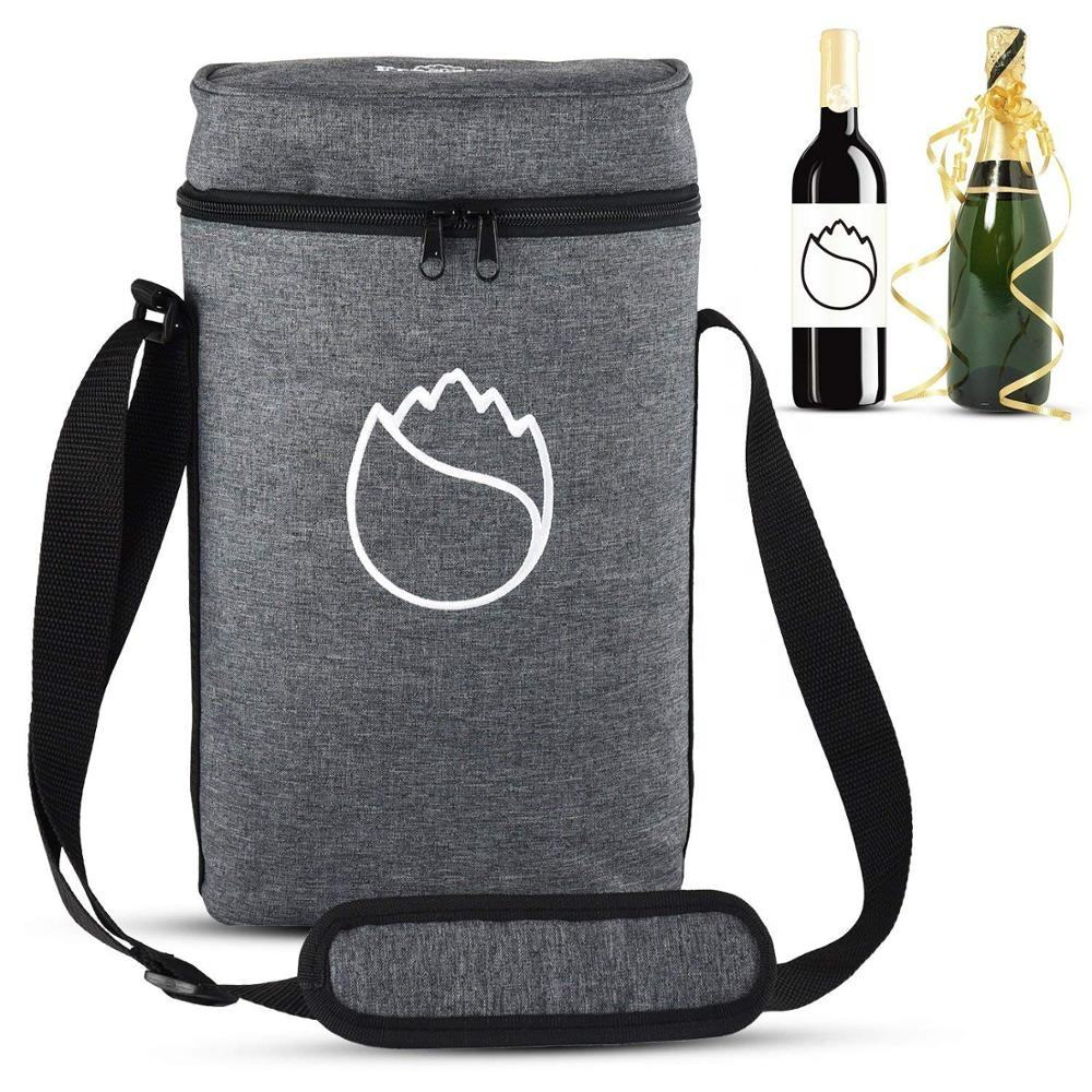 Fully-opened 2 Bottle Wine Travel Tote Bag Thick Insulating Pearl Cotton Wine Bottle Tote With Adjustable Shoulder Strap