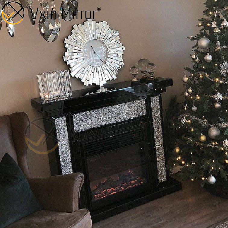 Vxin Mirror WXWF-042-1Silver Crushed Diamond Black Frame Mirrored Fireplace