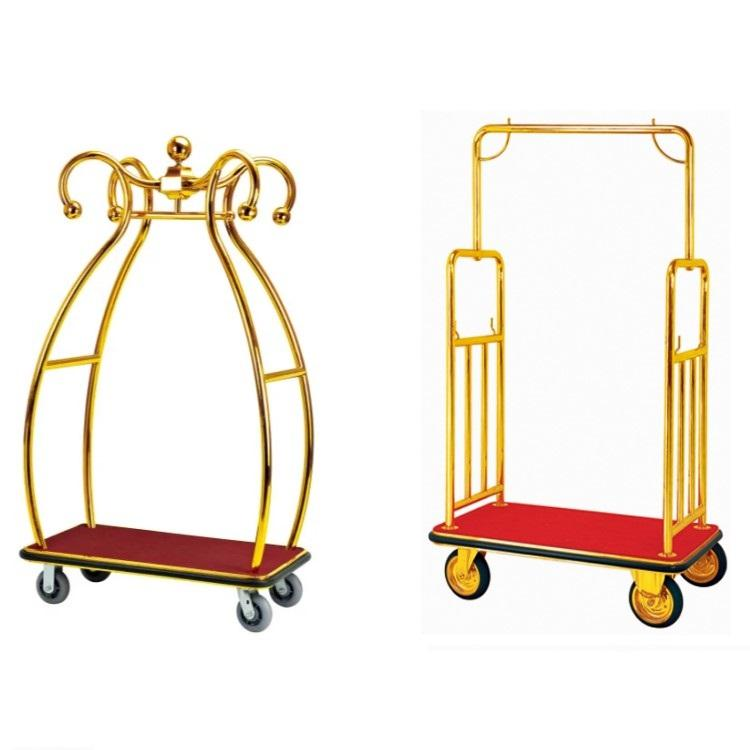 5 Stars Luxury Design Stainless Steel Good Quality Hotel Luggage Cart Trolley