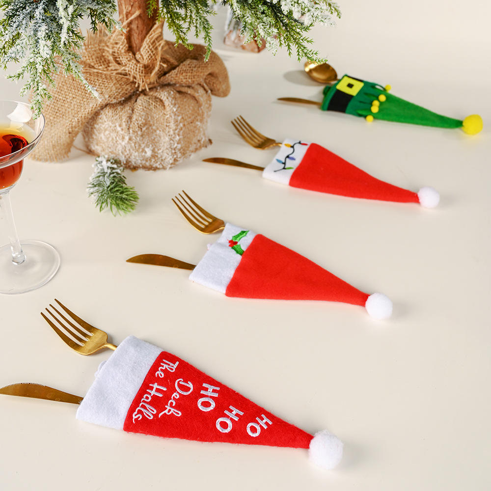 Christmas decoration ornament Tableware Knife and Fork bags Christmas Hat Tool Decoration