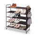 5-Tier 15 Pairs Stackable and Expandable Shoe Rack with Side 6 Shoes Pockets, Bronze