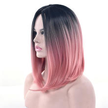 Women's Straight Ombre Bob Wig Middle Part Synthetic Halloween Cosplay Wigs