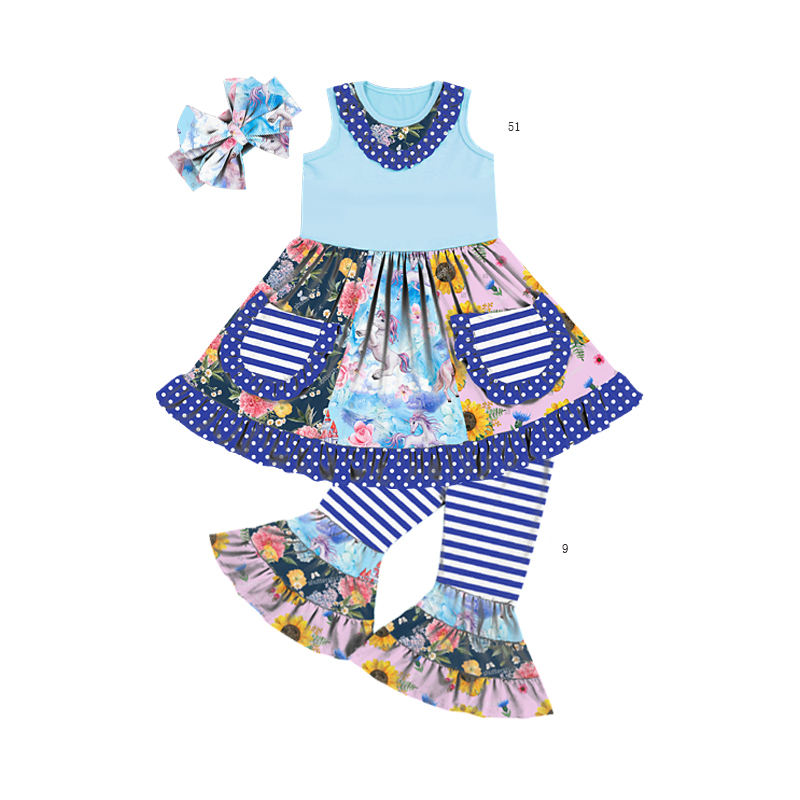 TZ-313-YXL trending summer clothing 2021 new arrivals other girls' clothing shirt dress fashion cute baby girls' clothing sets