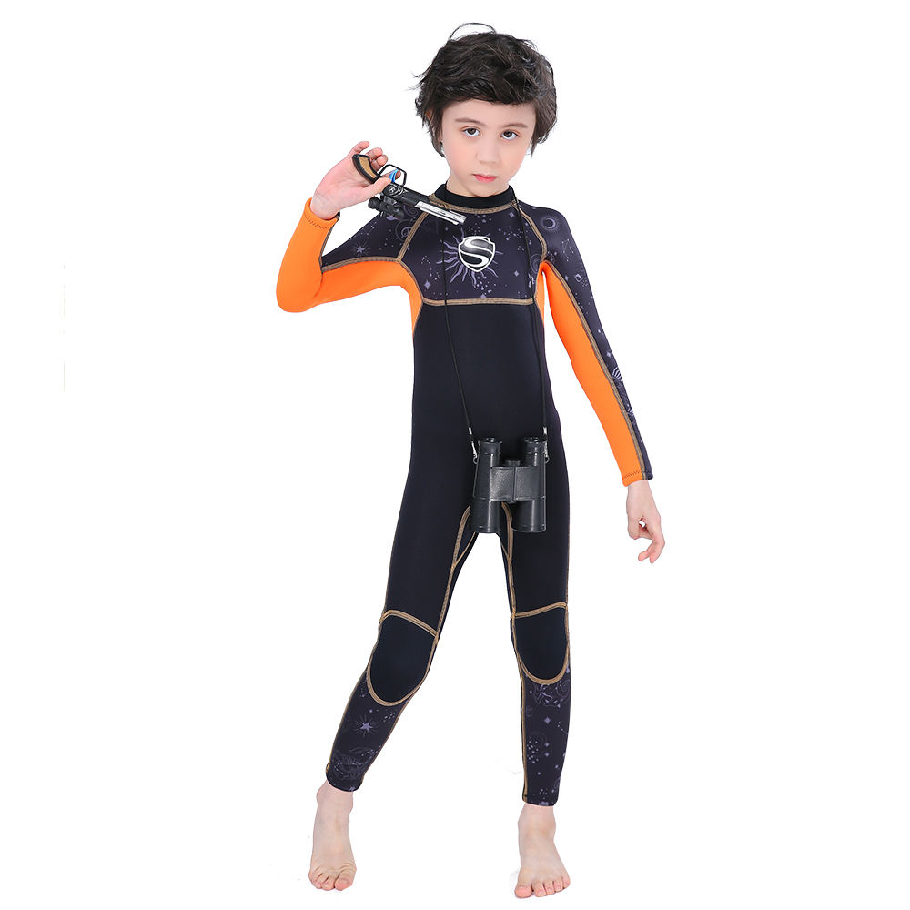 2.5mm Baby Kids Black Blue Wet Suits Manufacturers Long Sleeves One Piece Back Zipper Surf Neoprene Scuba Diving Kayak Wet Suit