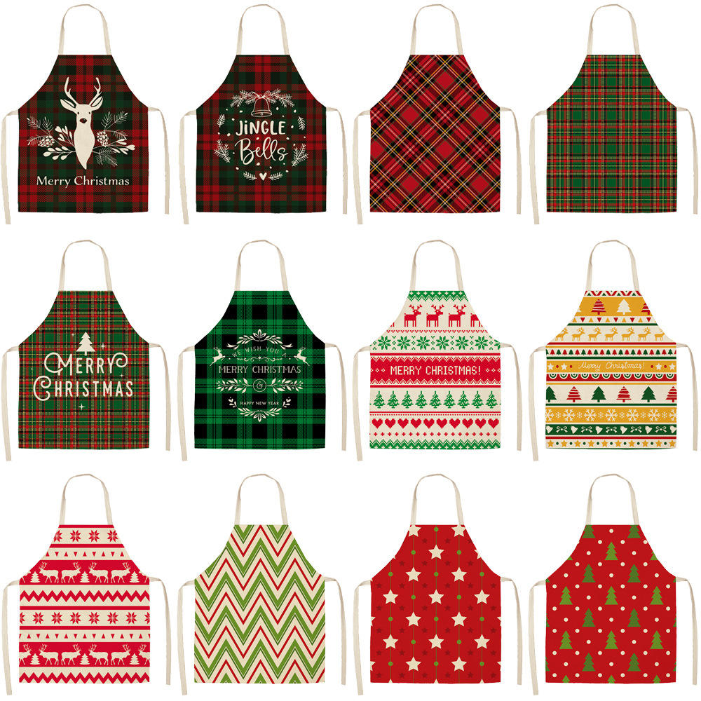 Hot Sale Personalized Customization Size Home Kitchen Cooking Baking Accessories Christmas Apron Women Cotton Linen Aprons
