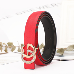 Chinber 2020 Trendy Branded Ladies Red Leather Fashion Belts
