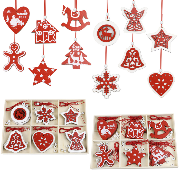 Wooden crafts Christmas Tree Decoration pendant home creative DIY handmade wooden chip six palace box decoration