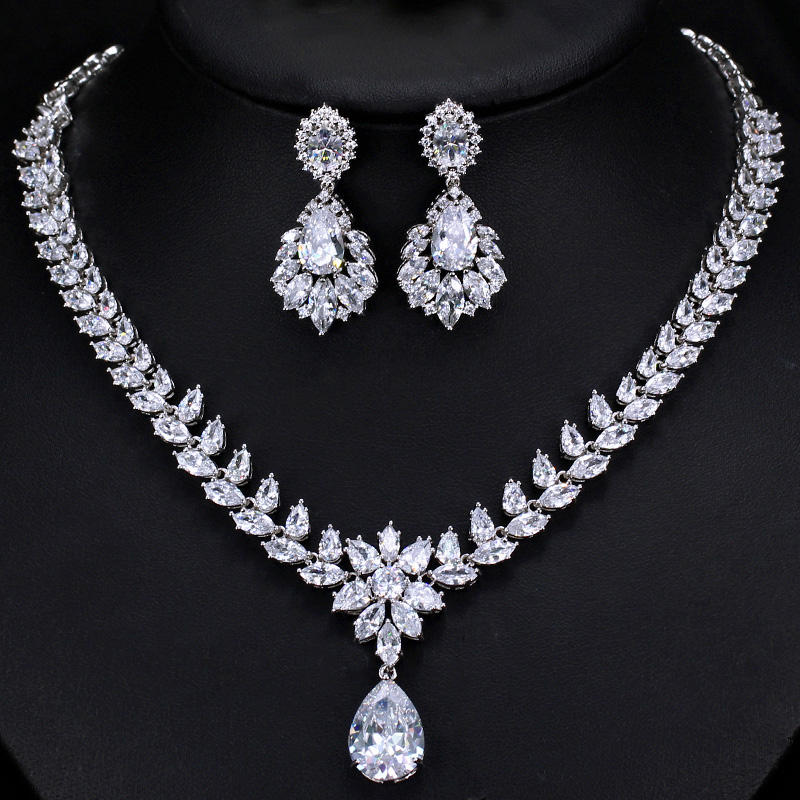 Water Drop Big Earrings Necklace Sparkling Cubic Zirconia Wedding Jewelry Set Luxury Bridal Accessories Jewelry set