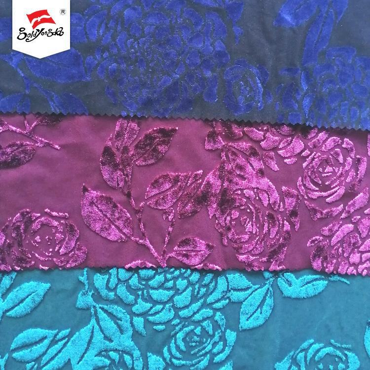 Best selling polyester spandex floral velvet burnout recycled nylon dyed fabric