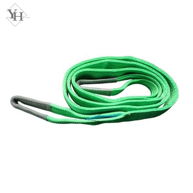 manufacturer producing polyester 2 ton webbing sling 60mm green color flat lifting sling
