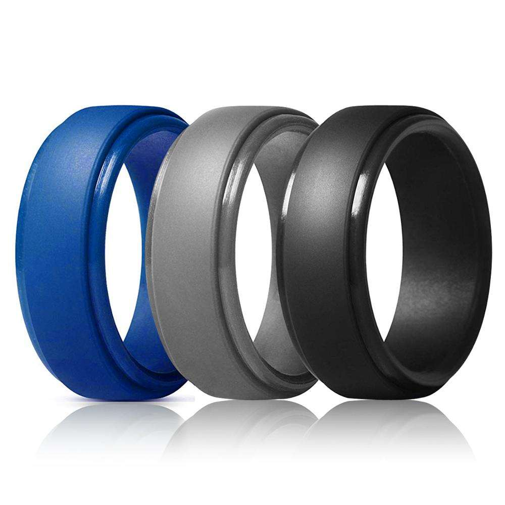 Silicone Wedding Ring for Men Step Edge Sleek Design Rubber Wedding Bands