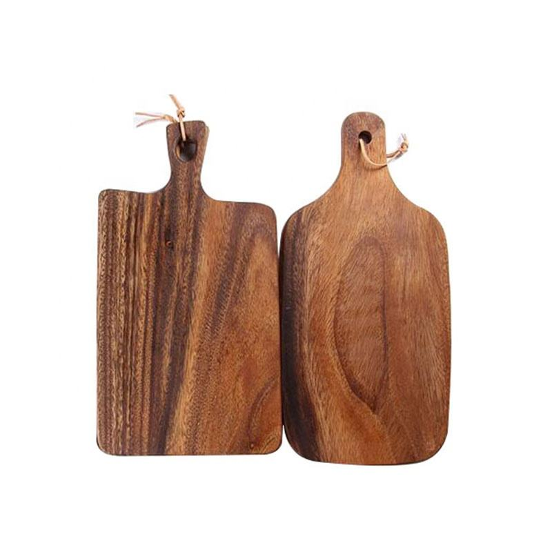 Wholesale cheap professional multi-function rectangle thick acacia wooden cheese cutting boards with handle