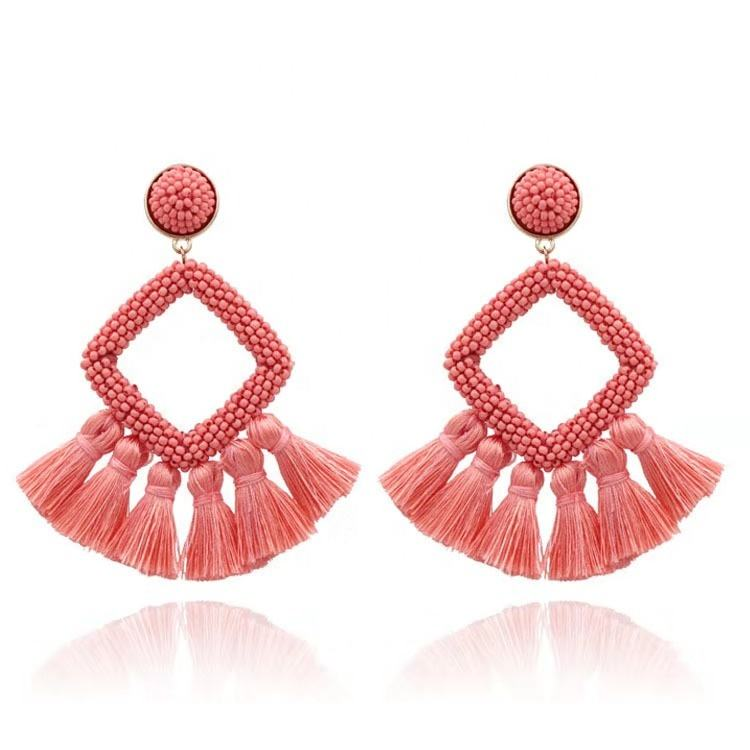 2019 wholesale women jewelry top sell and handmade tassel women Earring geometric