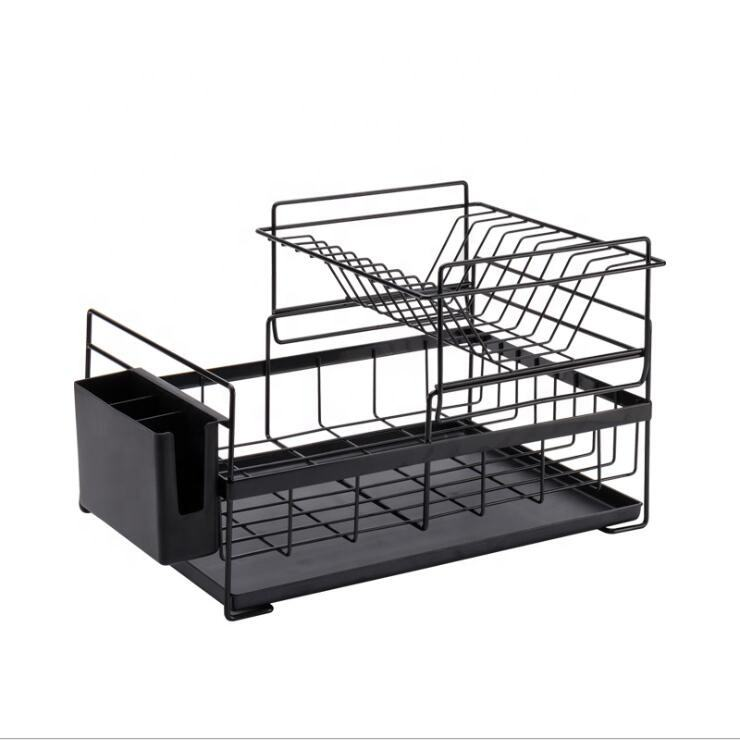 Kitchen Storage Rack Metal Dish Rack with drain tray 2 tiers Dish Rack