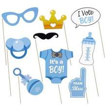 30pcs Gender reveal party supplies for baby style photo prop paper mustache and glasses pacifier beard