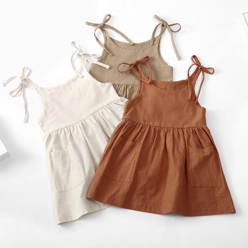 High Quality Factory Price Solid Lovely Baby Dress Summer Linen Cotton Clothes Sleeveless Suspender DressためGirl