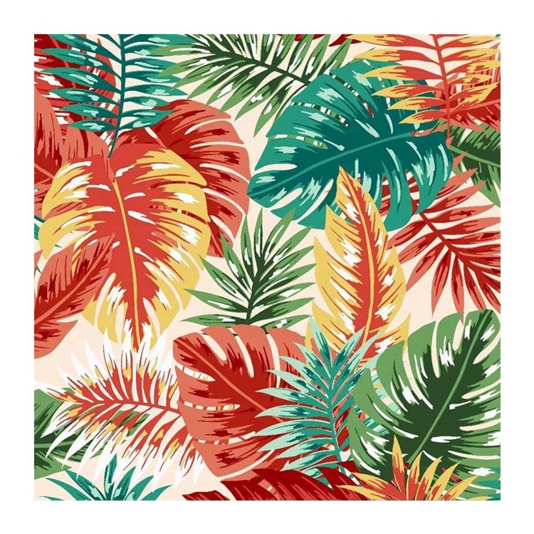 Hawaii Style Elastic Knitted Polyester Stretch Fabric Digital Printing Poly Materials Custom Printed Spandex Fabric