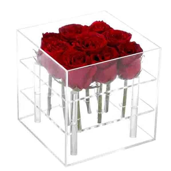 9Holes Clear Acrylic Preserved Flower Rose Gift Box