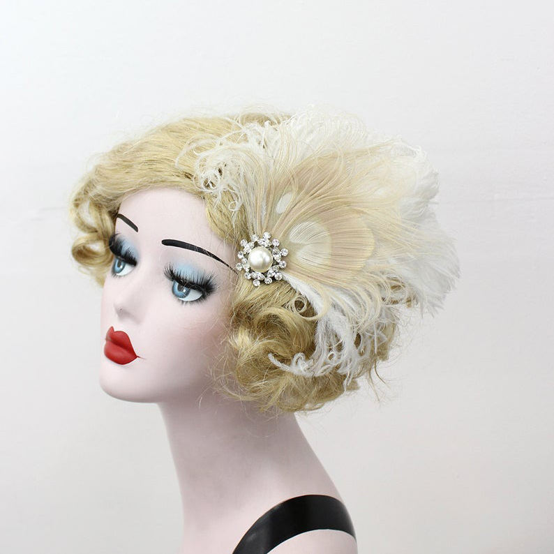 Ivory White Peacock Feather Fascinator Head Piece Pearl Champagne Swarovski Crystal Wedding Day Magazine