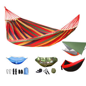Outdoor double hammock with mosquito net portable hammock swing canvas camping hammock