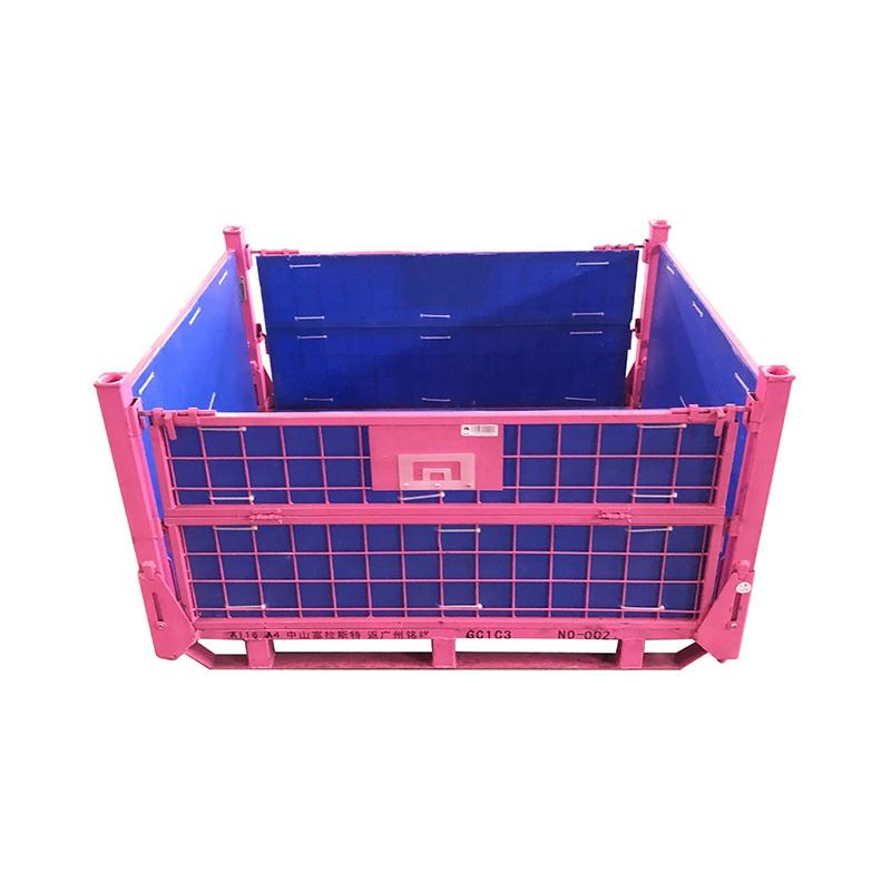 Heavy duty collapsible stackable steel metal pallet stillage cage