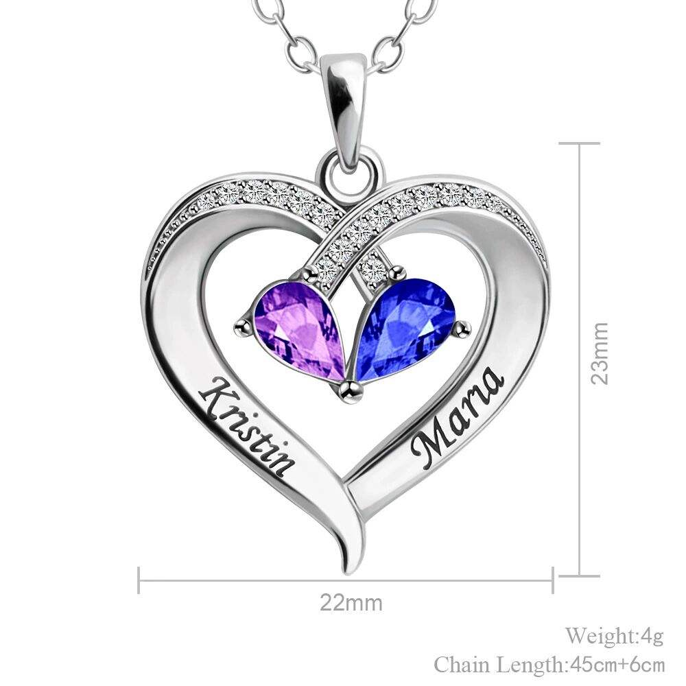 2021 new style Double color teardrop heart-shaped Engraving character birthstone necklace