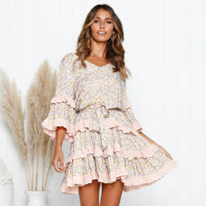 Summer Casual Europe America Fashion Dress Long Sleeve clothes Lace Ruffled Dresses Women