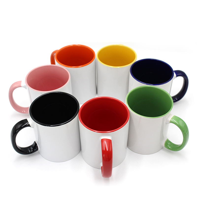 popular top grade inner and handle color blanks cup mug 11oz for sublimation