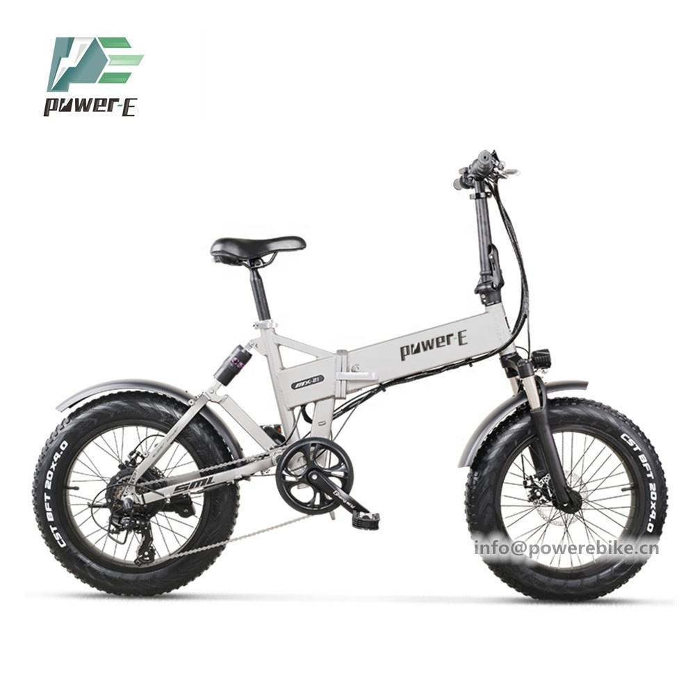 New 20 Inch 4.0 Fat E Bike 48V 12.8Ah Hidden Battery Folding Electric Bike 48V 500W 750W Folding Electric Bike