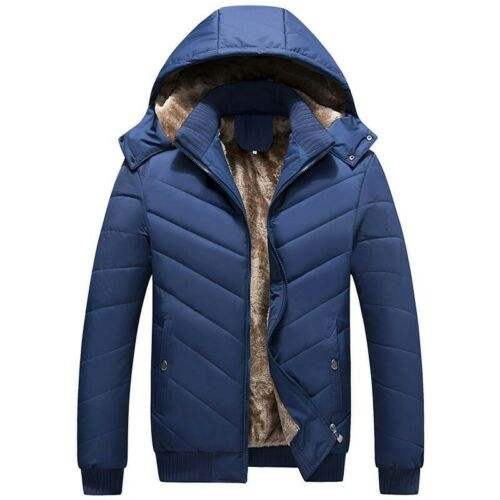New Mens Fashion Winter Fleece Warm Hooded Multi Pockets Casual Cotton Jacket Winter Mens Hooded Thick Cotton Padded Jack