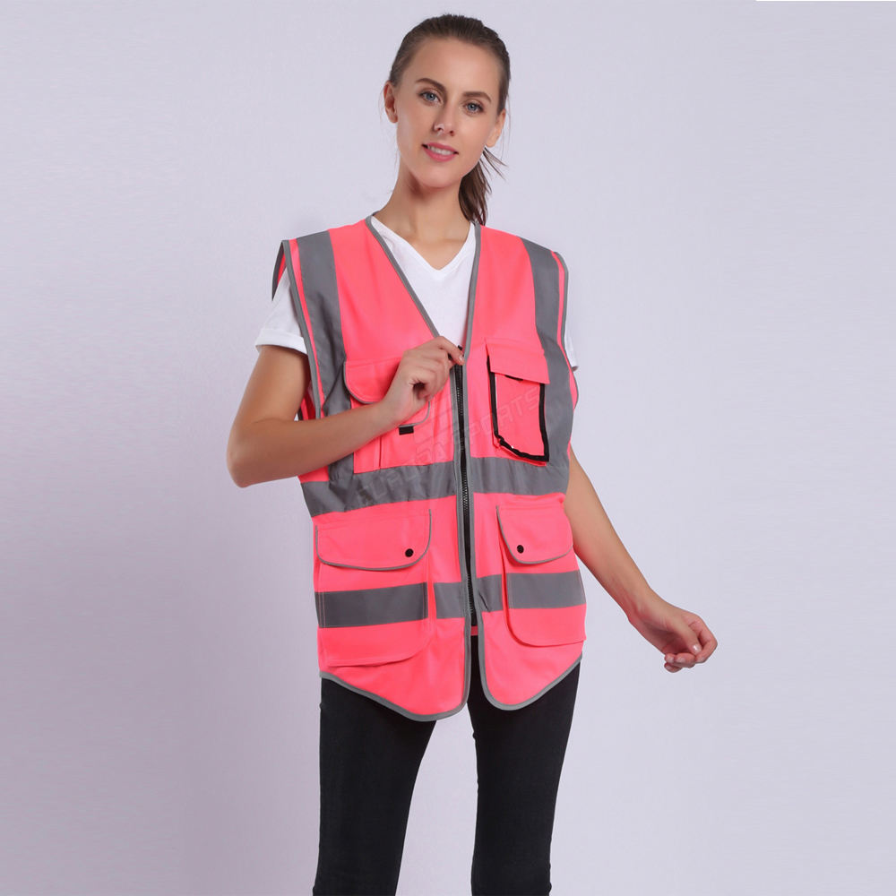 Pink Safety Vest For Women Hi Vis Vest With Reflective Stripes Safety Vest With Pockets And Zipper