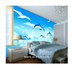 Living room decor custom photo cute dolphin animal picture 3d wall murals wallpaper