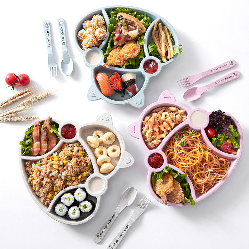 eco friendly wheat straw kids travel dinnerware flatware set including plate , cup , bowl and cultury