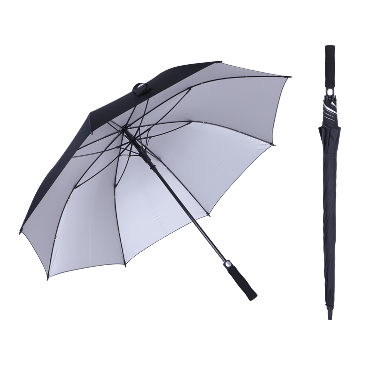 high quality auto open EVA handle silver coating promotion golf size umbrella 30 inch uv golf umbrellas
