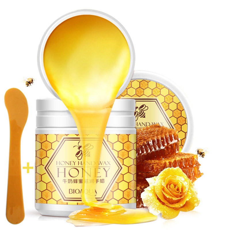 BIOAQUA Milk Honey Wax Cream with Spoon Paraffin Whitening Nourish Moisturizing Hydrating Remove Dead Skin exfoliator Hand Care