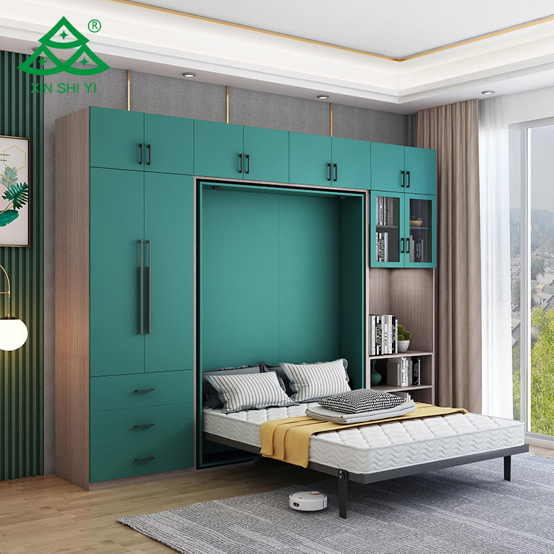 new design luxury bedroom furniture modern multifunctional wardrobe Folding bed wholesale