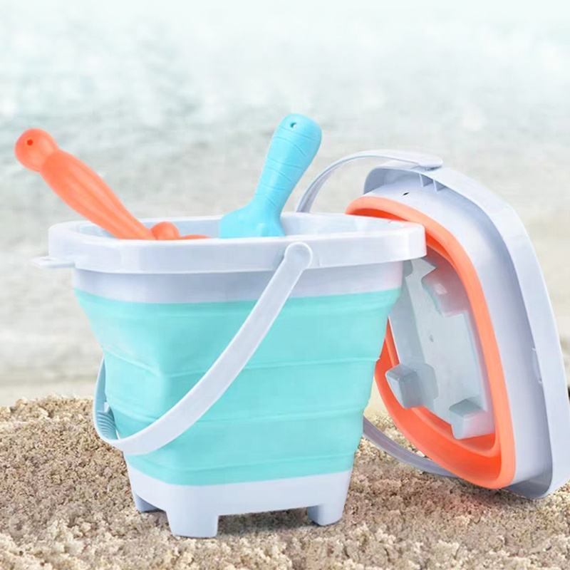 Hot Summer Toys Set Shovel Foldable Silicone Beach Bucket Toy