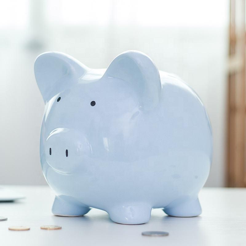 Diseño de logotipo personalizado punto grande de cerámica dinero Caja de Ahorro gracioso cerdo forma cerdito banco