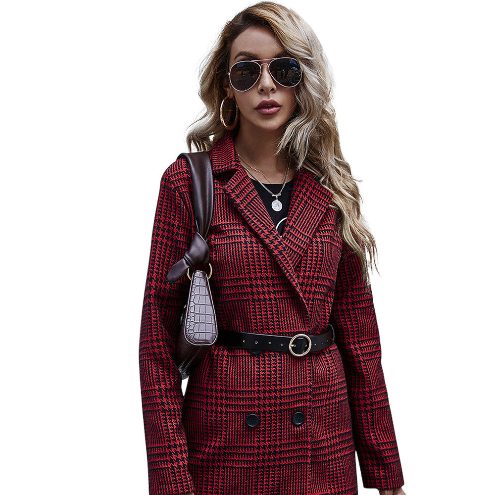 Europe United States fashion long sleeve coat casual coat red houndstooth suit coat long