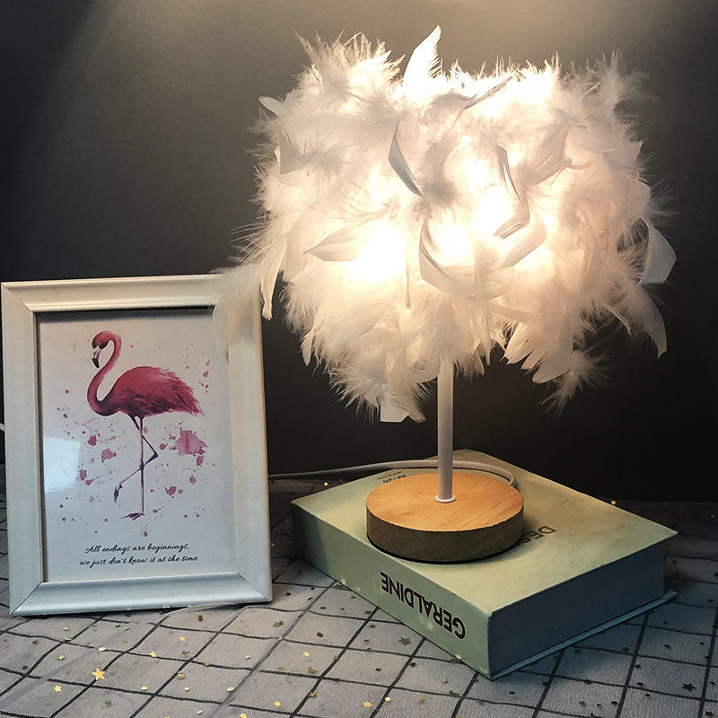 Table lamp bedroom LED feather white red bedside table lamp children girl bedroom table lamp holiday atmosphere d