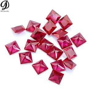 Wholesale AAA Square Grid and Lattice Checker Cut Faceted 5# Ruby