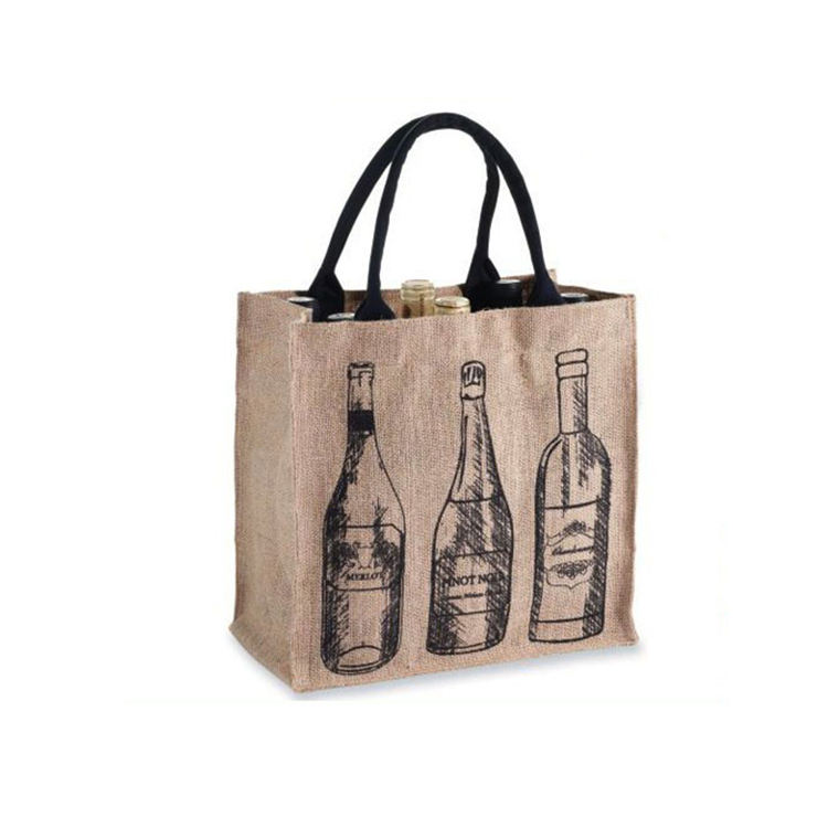Custom printed high quality jute wine bottle tote shopping bags