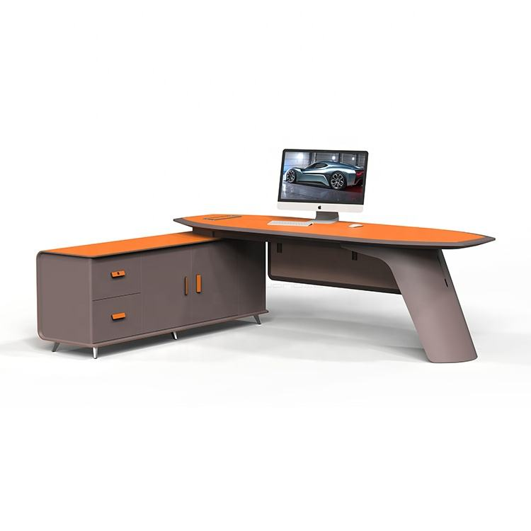 luxury executive ceo mdf desk top table leather l shaped reception desk set computer desks with bookcase