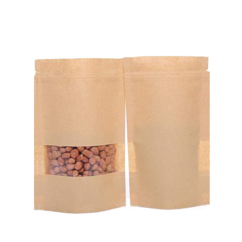 Eco Friendly Packaging Material Stand Up Packaging Pouch Brown Kraft Paper Zipper Bag For Spices