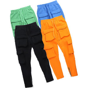 Customized Sweat Trousers Solid Color Multi-Pocket Tooling Long Pants Men's Trousers